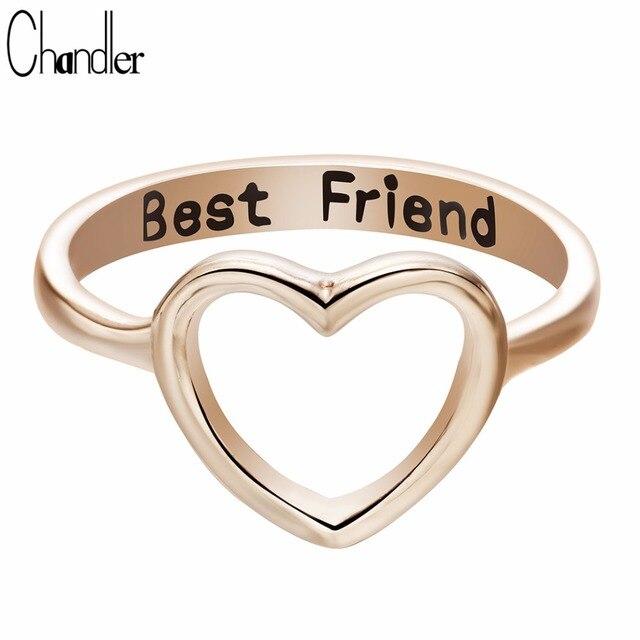 Chandler Brand Best Friends Love Shape Charm Ring Anel Feminino Midi Mid Pikine Toe Bague Friendship Eternal Forever Best Gifts