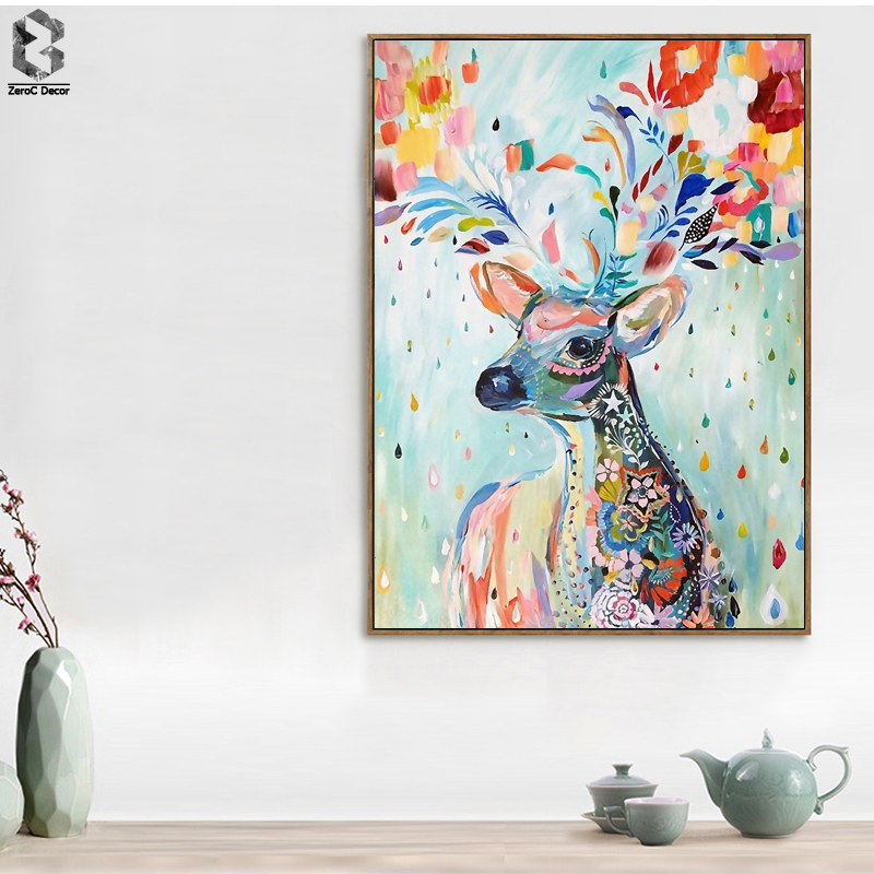 Watercolor Deer Art Print Poster, Wall Art Picture for Living Room Decoration, Animal Home Decor Painting on Canvas