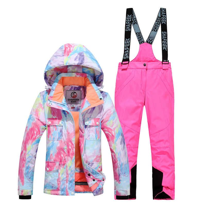 Детский лыжный костюм высокого качества очень теплая лыжная куртка для мальчиков и девочек, комплект со штанами, водонепроницаемая куртка для сноуборда, зимний детский лыжный костюм
