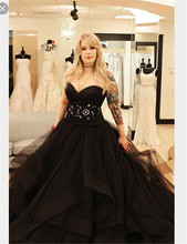 Plus Size China Alibaba black gothic wedding dresses Sweetheart Floor Length Ball Gown Hand Made Crystal Bridal Gowns Black 2017