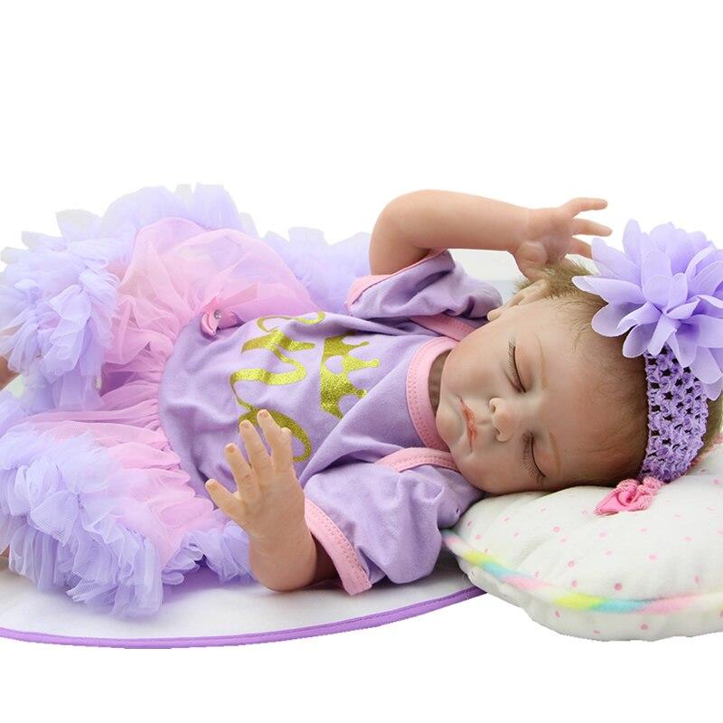 2016 New Style Soft Lifelike Silicone Reborn Baby Doll Sleeping 22 Inch Newborn Princess Girl Babies With Dress Kids Playmate [sgdoll] 2017 new 21 lifelike reborn sleeping baby doll lolita dress up w pacifier cushion feeder free shipping 15110708