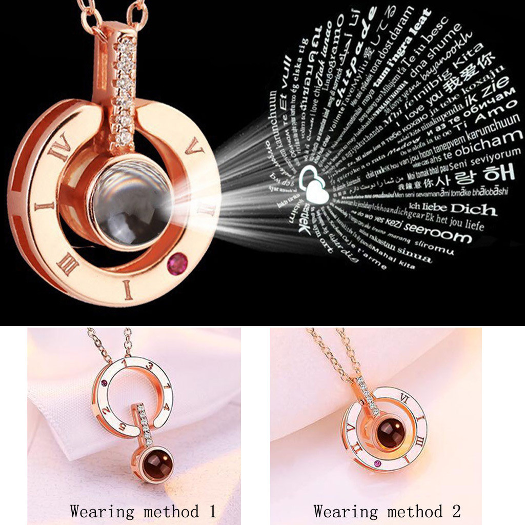 2019  Gold & Silver Round Shaped I LOVE YOU In 100 languages Projection Necklace For Memory Of LOVE Dropshipping #15(China)
