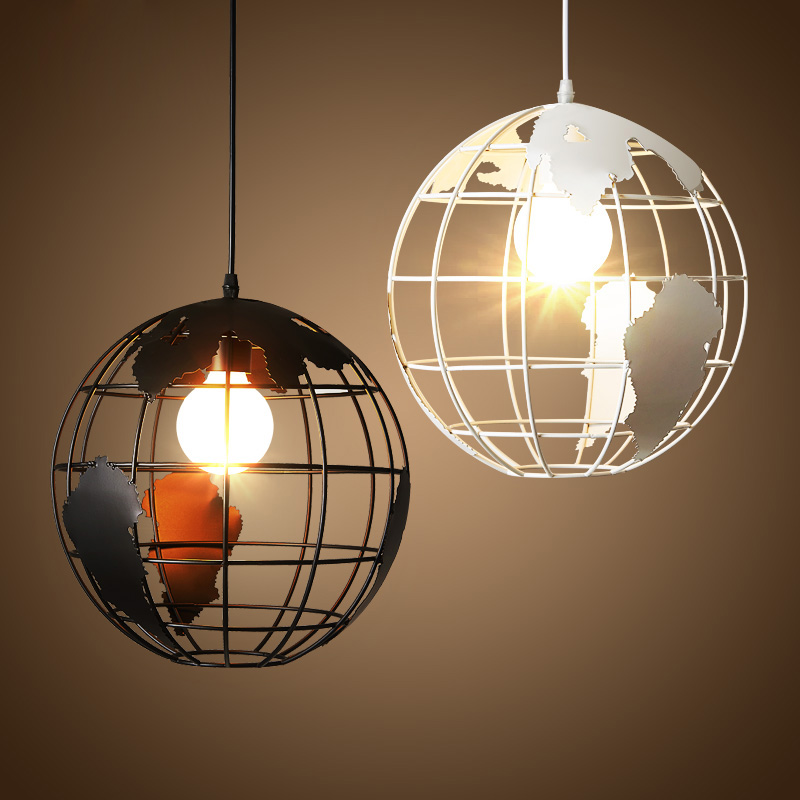 Nordic Loft Retro Industrial Iron Globe Circular Single-head Chandelier Restaurant Bar Cafe Lamp