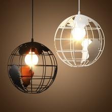 Nordic loft retro industrial hierro globo circular de una sola cabeza candelabro restaurante Bar café lámpara