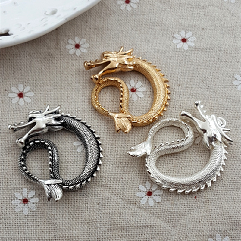 High Quality 1 PC Antique Silver Golden Charms Chinese Dragon Charms Pendants For Necklace For Diy Jewelry Making 35mm*45mm