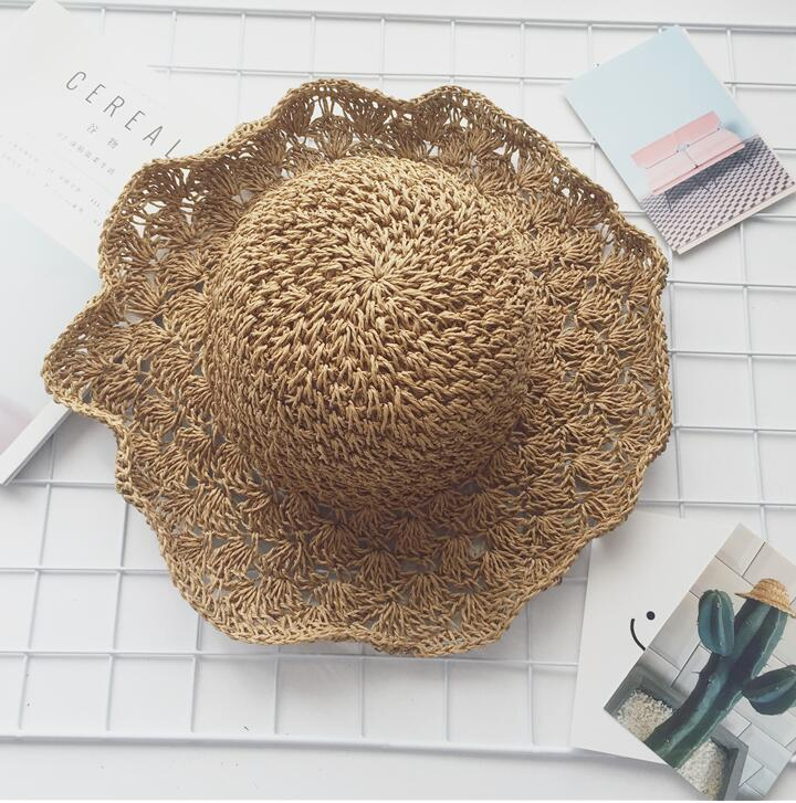 Fast shipping Tui guangjieshao style C made by hand Crocheted hat straw hat lady summer sun shading cap style five brushed cotton twill ivy hat flat cap by decky brown