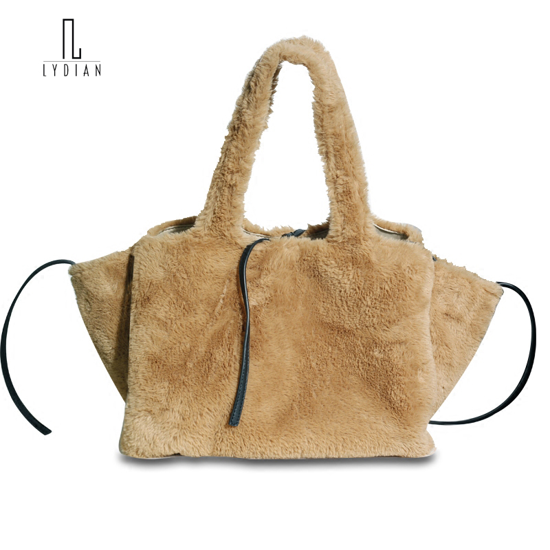 Lydian Faux Fur Bag Wings Handbag Woman 2018 New Khaki Big Shoulder Bag Fashion Woolen Day Clutch Designers Bags and Brand Totes faux fur duffle shoulder bag