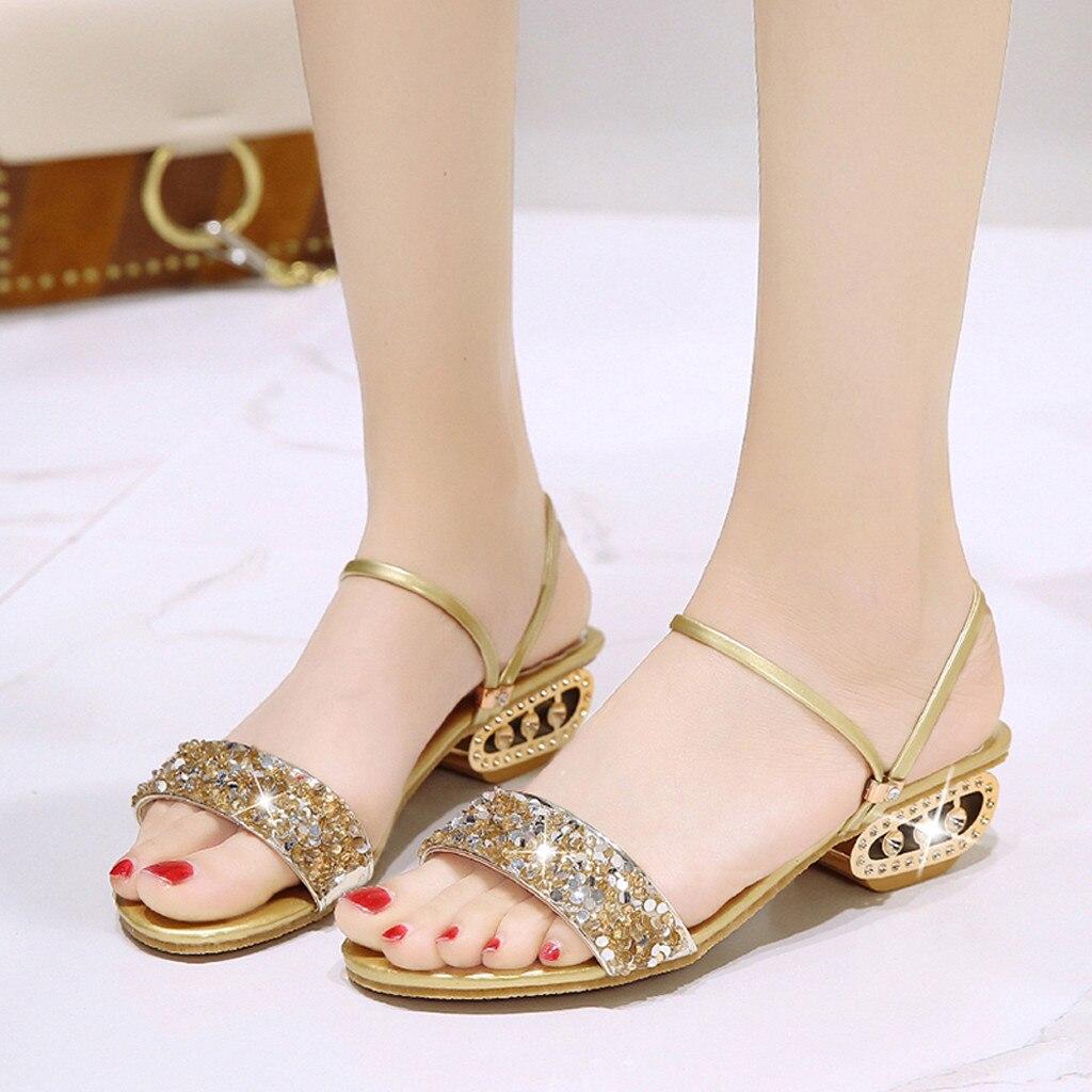 36ee7df8f YOUYEDIAN de las mujeres Rhinestone sandalias casuales boca de pescado  lentejuelas salvaje zapatos de tacón alto zapatillas 2019 yaz d z sandalet  bayanlar ...