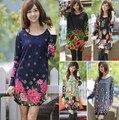 Новый 2016 женская осень-весна плюс размер цветочный печати с длинным рукавом пуловер повседневная dress платья топы 3XL большой