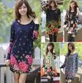 Nuevo 2016 otoño del resorte más el tamaño de las mujeres flor de impresión de manga larga pullover casual dress vestidos tops 3xl grande