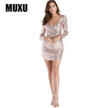MUXU sexy summer women dress vestidos mujer glitter gold sequin fashionable dresses womens clothing clothes long sleeve