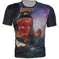 Meninos T camisa 2016 crianças copo 3d preto 8 Pizza Animal print menina menino de poliéster de manga curta projeto fresco da marca t-shirt Tops de