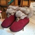 2017 Nueva Moda de piel de Zorro Para Mujer Pisos Botas de Nieve de Espesor inferior Tamaño Grande 35-44 Zapatos Femeninos de Cuero Genuino de Arranque de Invierno XP15