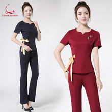 Beauty salon beautician work clothes set summer female temperament fashion thin two-piece