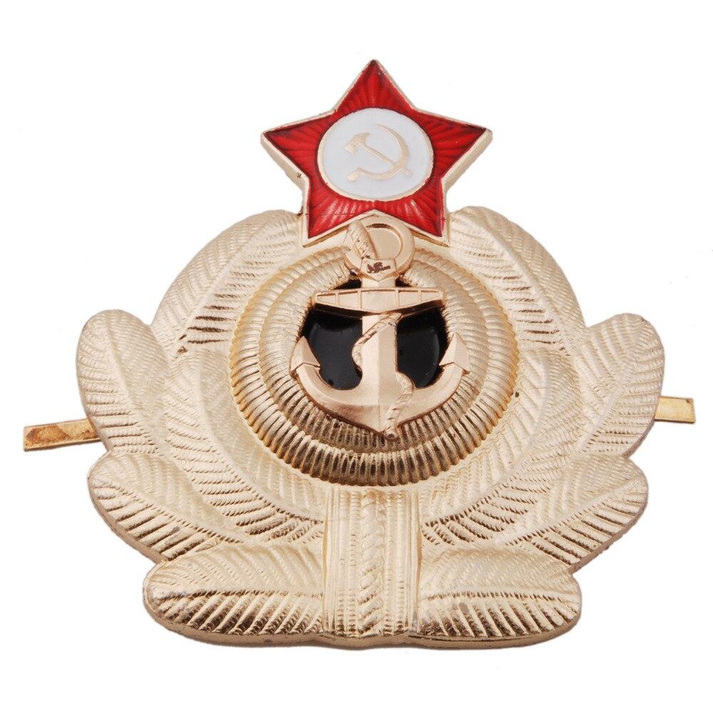 SOVIET RUSSIAN NAVY USSR MARINES MILITARIA METAL HAT BADGE - 36275