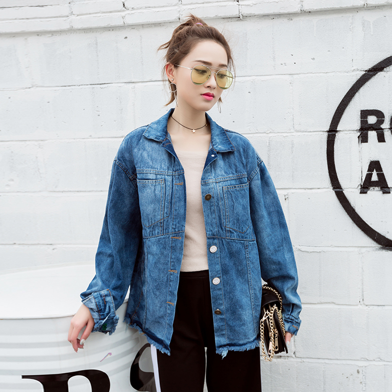 Letter Embroidery Denim   Jacket   Burr Hem Coat Women Vintage   Basic     Jackets   2018 Casual Jean   Jacket   Girls Outerwear High Quality