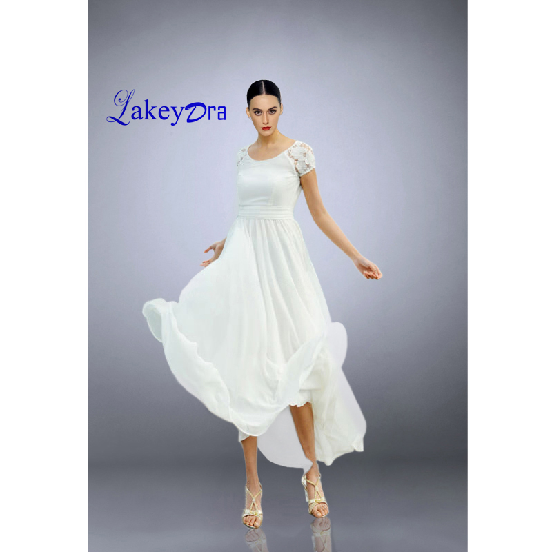 Lakeydra a-ligne robes de soirée blanches en mousseline de soie col bateau avec dentelle dos nu grande taille robes de soirée de plage