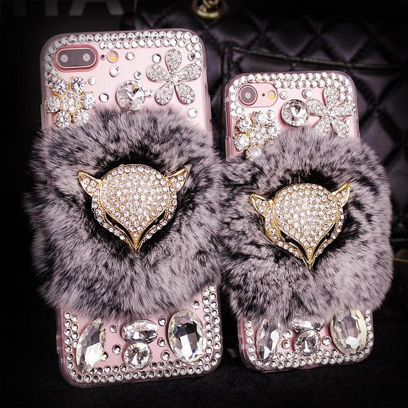 YESPURE Fancy Fox Fur Phone Cover för Iphone 6 6s Luxury Women - Reservdelar och tillbehör för mobiltelefoner - Foto 3