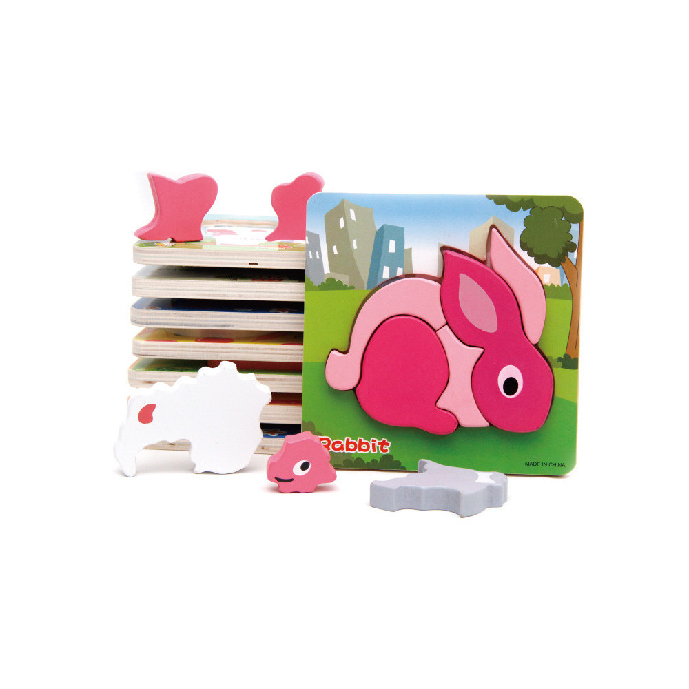 Baby Learning Educational Wooden Toys Puzzle Jigsaw Board Animal Rabbit Matching Enlightenment Kids Gifts RE4