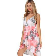 New Casual Women Maxi Backless Summer Dress Chiffon Print Vestidos V-Neck Womens Clothing Off Shoulder Vintage Summer Dress