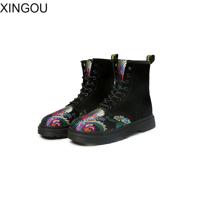 New Embroidered women's boots Suede Lace-Up female Martin boots Spring Round Toe women boots fashion Ankle boots front lace up casual ankle boots autumn vintage brown new booties flat genuine leather suede shoes round toe fall female fashion