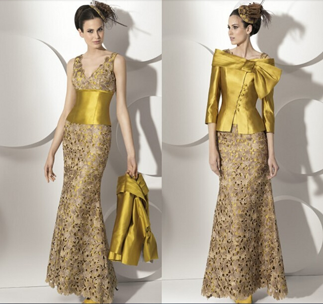 custom-made sleeves vestido de festa renda 2016 new design free shipping gold long Mother of the Bride lace Dresses with jacket