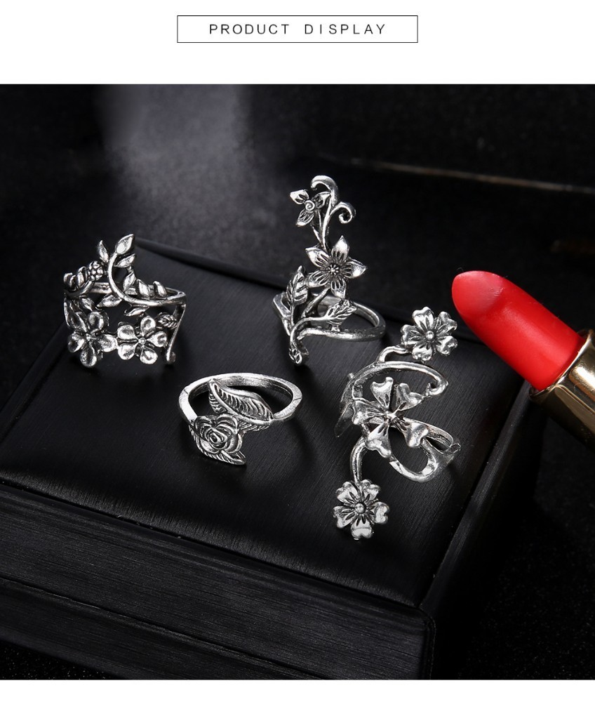 Bague Femme Vintage Rings for Women Boho Geometric Flower Crystal Knuckle Ring Set Bohemian Midi Finger Jewelry Silver Color 55