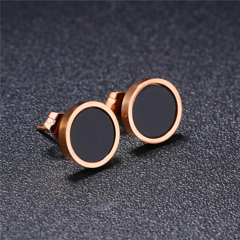 316l Stainless Steel Earrings Small Black Shell Punk Rock Earrings for Men Rose Gold Stud Earrings Round for Women Men Jewelry
