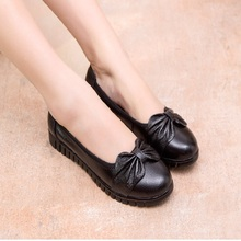 2016 new fall fashion mother comfortable shoes leather soft bottom single shoes slip in the elderly flat shoes, free shipping