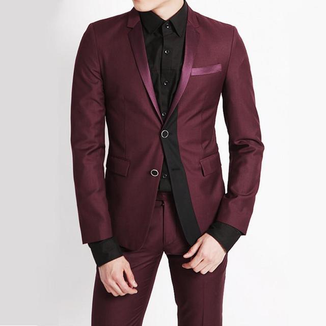 ace7c86408f3d Esmoquin trajes para hombre Rojo Slim Fit Esmoquin Vestido de La Manera  Trajes Padrino de boda
