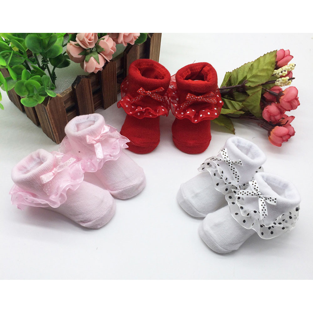 Pink Red White Toddlers Combed Cotton Ankle Socks for Baby Girls Bowknots Solid Socks With Lace Meia Antiderrapante Infantil