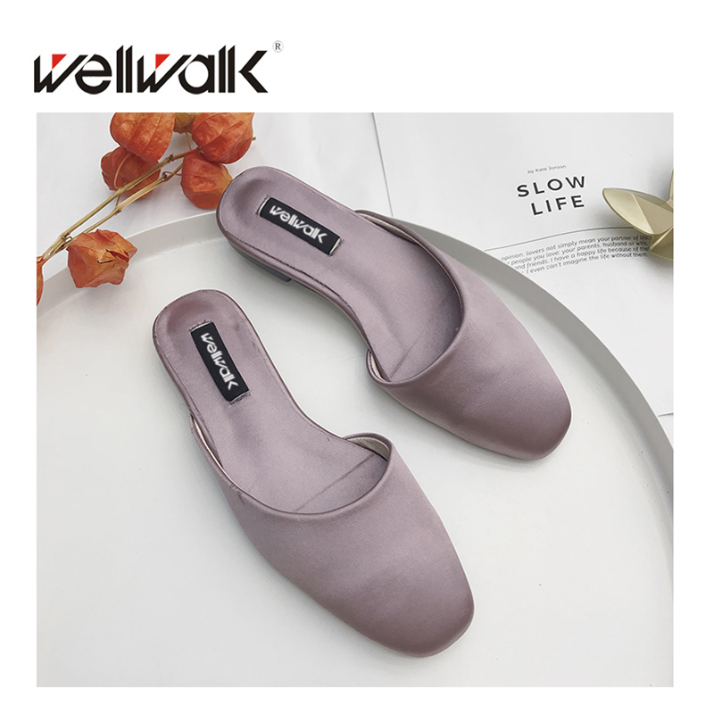 2018 Women Mules Lady Slippers Elegant Silk Lady Shoes Shallow Half Slippers Casual Flat Women Slides Summer Wellwalk Shoes