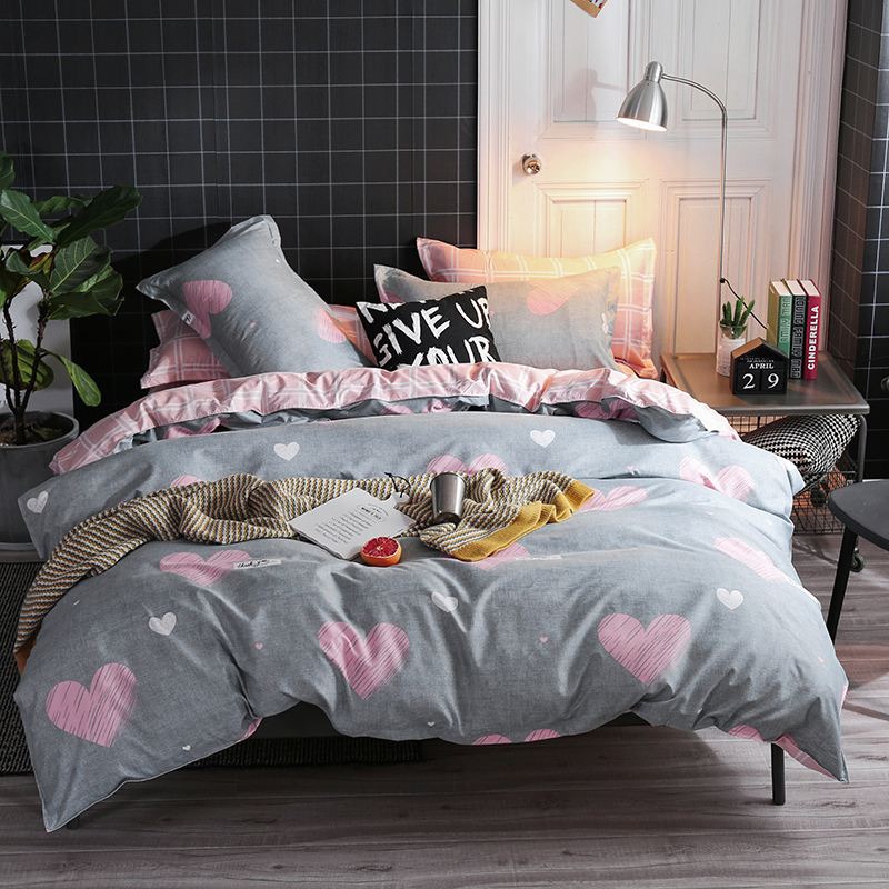 Bonenjoy King Size Bedding Set Luxury Pink and Gray Heart Printed Bed Sheet roupa de cama Queen Size Duvet Cover Sets for Girl