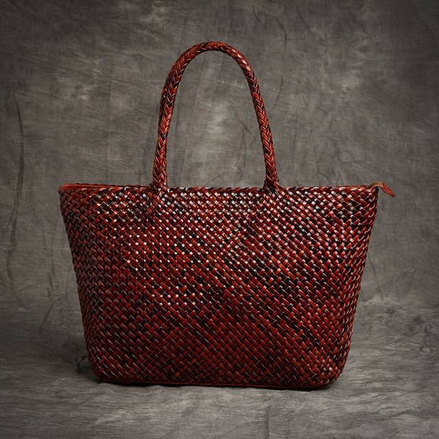 948cea444c98 Shell Handbags for Women Top-handle Shoulder Bags Handmade Leather High  Capacity Tote Woven Real