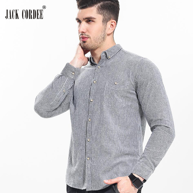 JACK CORDEE High Quality Shirt Men Soft Cotton Long Sleeve Mens Dress Shirts 2017 Casual Slim Fit Male Social Striped Shirt