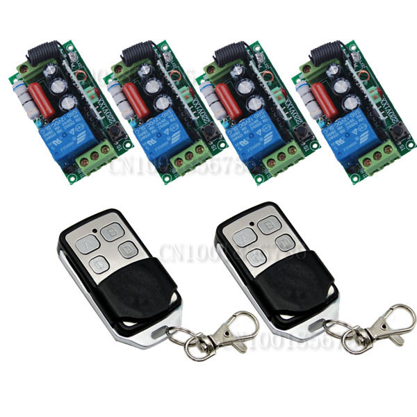 RF Wireless Remote Control Switch System 4Receiver /switch &2Transmitter 220V 10A 1CH Output Way Adjustable dc24v 15ch rf wireless switch remote control system receiver