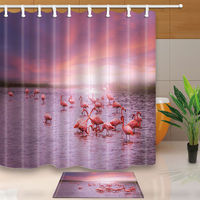 Warm Tour 3D Flamingo Group Polyester Fabric Bathroom Shower Curtain Set With Hooks