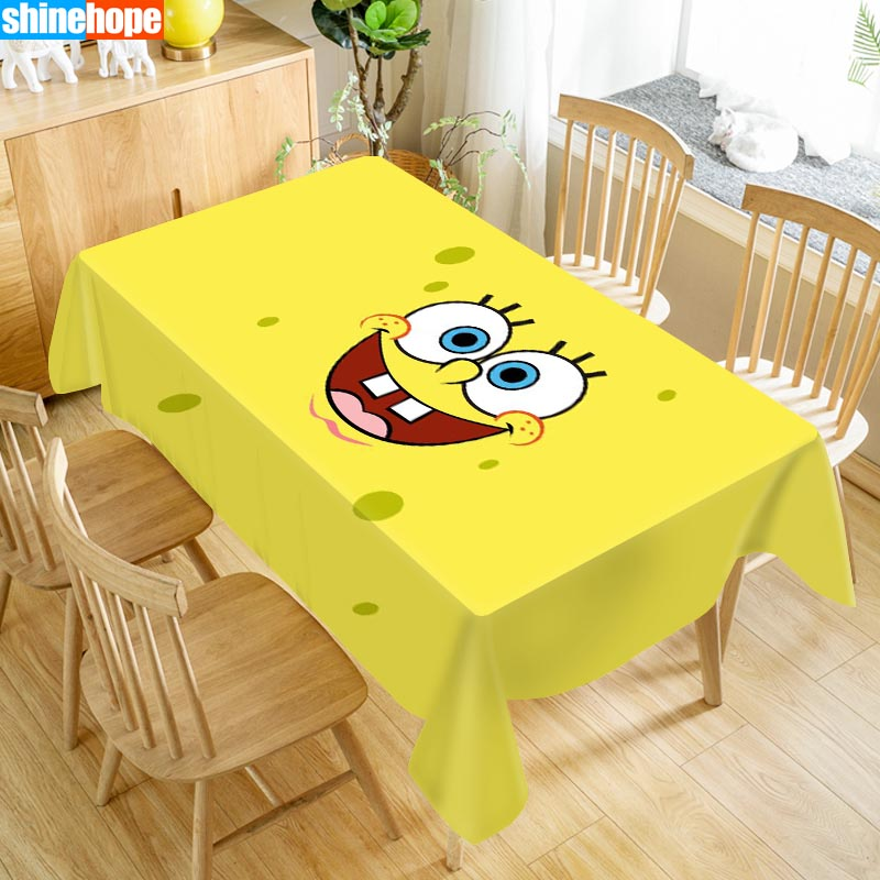 Custom Spongebob Table Cloth Oxford Print Waterproof Oilproof Home Rectangular Party Table Cover 100X140cm/140X250cm