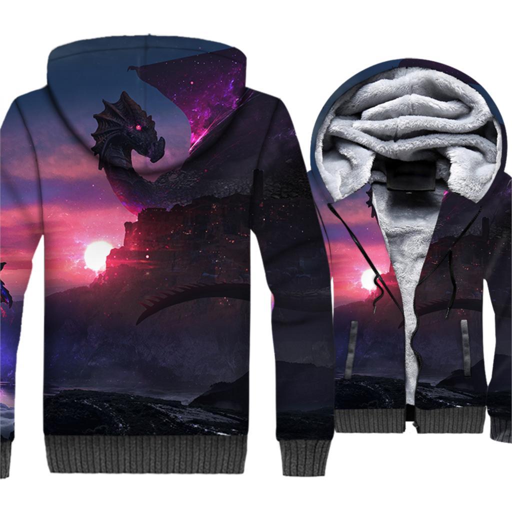 Game Of Thrones Dragon printed men 3D Hoodies 2019 Winter short style Jackets Men Thick Fleece warm Sweatshirts Hip Hop hooded in Hoodies amp Sweatshirts from Men 39 s Clothing