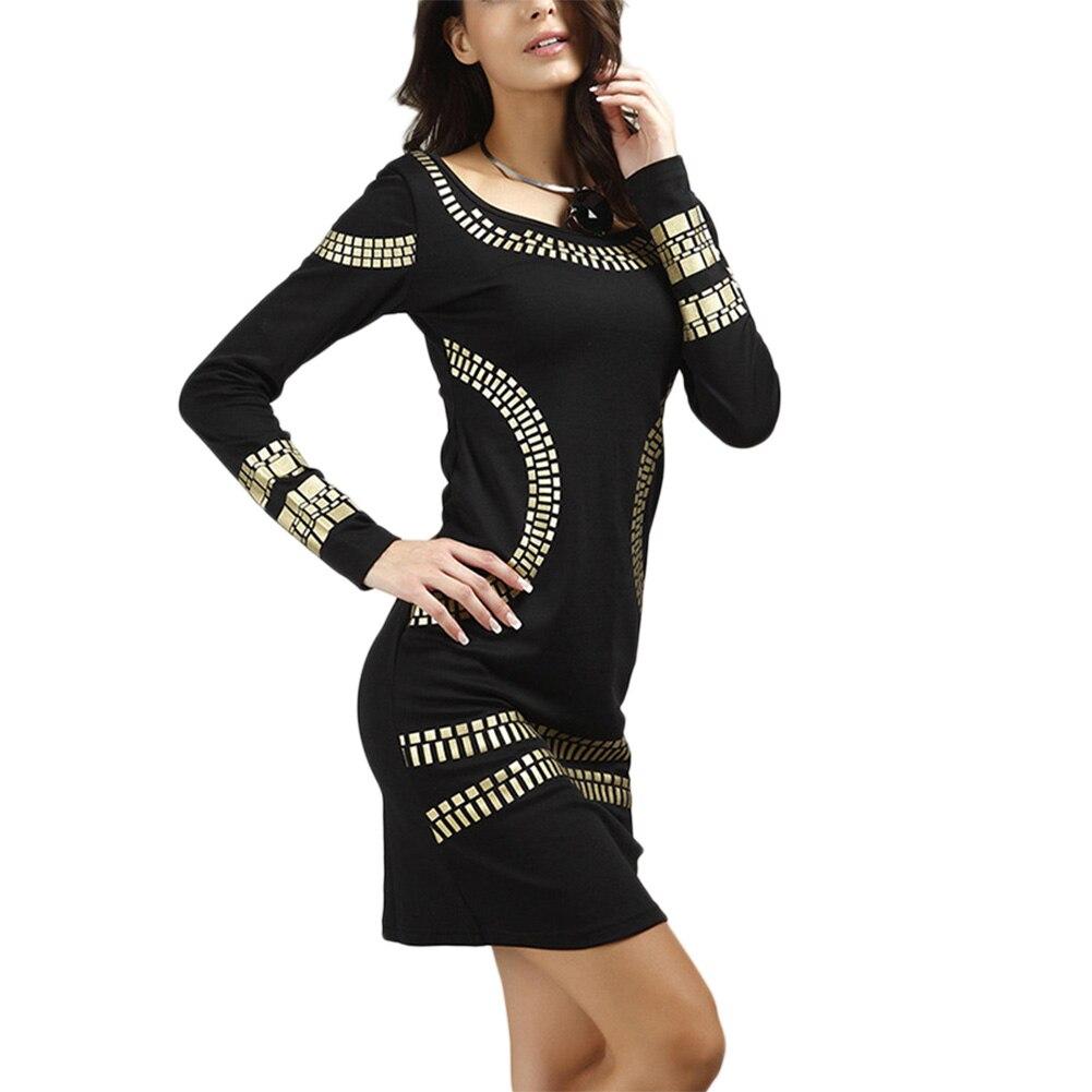 2018 New Office Lady Long Sleeve Slim Fit Dress Women Gilding Black White Short Dress WML99