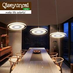Qiseyuncai nowoczesne minimalistyczne lampy LED żyrandol kreatywny pojedyncze lub trzy głowy jadalnia u nas państwo lampy okrągłe osobowości oświetlenie