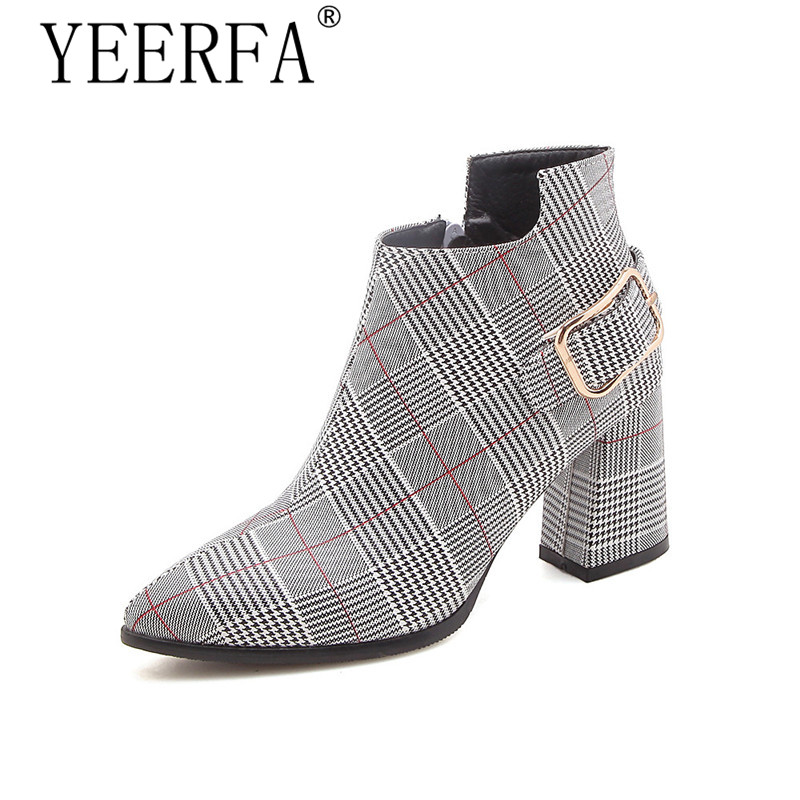 2019 Large Size 35-43 Women Boots Fashion Plaid Pointed Toe High Heels Women's Shoes Sexy Autumn Winter Ankle Boots female стоимость