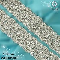 (10 YARDS) bridal pearl rhinestone applique beaded crystal trim iron on for wedding evening dresses WDD0100