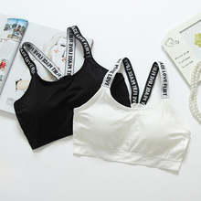 Difen Women Sexy Letters Straps Sports Bras Seamless Padded Gym font b Fitness b font Athletic