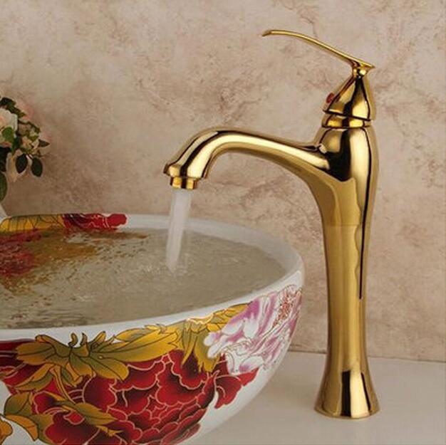 New Arrivals Hot selling Bathroom Faucet Mixers Golden finish Brass Basin Sink Faucet Single Handle bath mixer taps water tap okaros bathroom basin faucet brass golden polish swan shape heighten single handle hot&cold water vanity sink mixer tap 2016 new