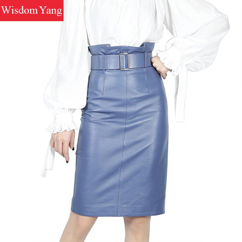 Spring Blue Red Real Genuine Leather Skirt High Waisted Belt Midi Skirts Womens Bodycon Sexy Office Ladies Pencil Wrap Skirt