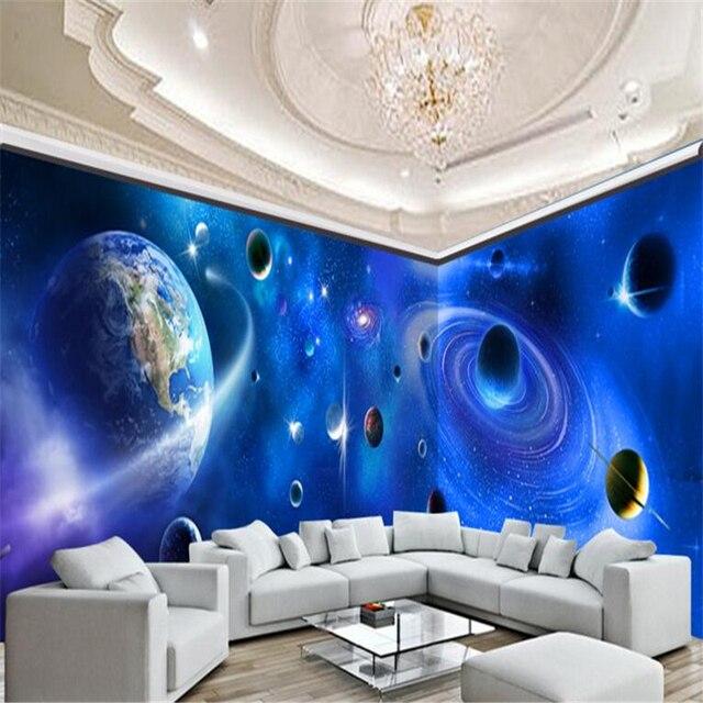 Beibehang foto wallpaper 3d sala de estar decorar universo for Wallpaper sala de estar