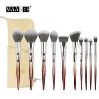 MAANGE New Arrival 10pcs Coffee Color Makeup Brushes Set Beauty Make Up Brush Cosmetic Bag Women