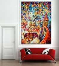 100% Hand-painted Colorful Palette Knife Canvas Oil Painting Little Town Picture Art Home Wall Decor No Frame