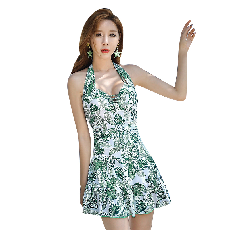 Summer new Green leaves print skirt style Flat pants one Piece swimsuit Sexy Halter swimwear beach Holiday women bathing suits trendy solid color halter pleated one piece skirt swimwear for women